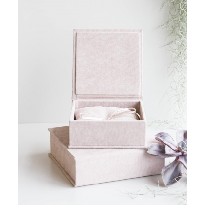 """Wedding rings box """"EMILY"""" with paper vows cards and wedding rings pillow"""