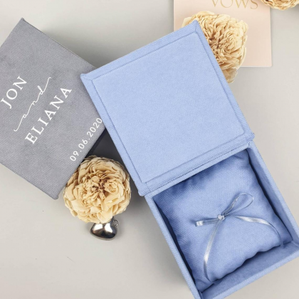 """Wedding rings box """"KAREN"""" with paper vows cards and wedding rings pillow"""