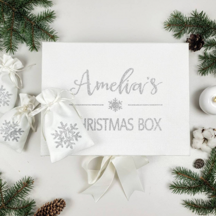 Personalised Christmas Box with Christmas advent calendar bags set - 2 IN 1