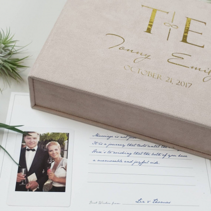 """Personalized Wedding box with guest advice cards, Wedding mad libs in box """"EMILY"""""""