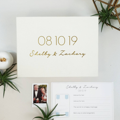 """Personalized Wedding box with guest advice cards, Wedding mad libs in box """"GRACE"""""""