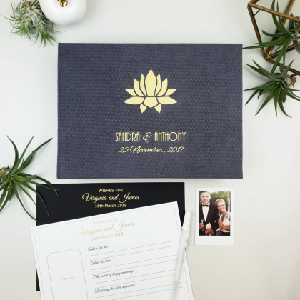 """Personalized Wedding box with guest advice cards, Wedding mad libs in box """"LOTUS"""""""