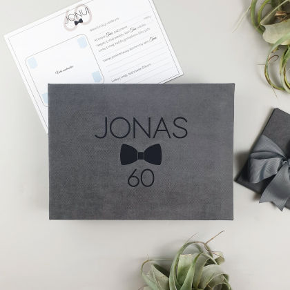 """Personalized box with guest advice cards, mad libs in box """"ANNIVERSARY"""""""