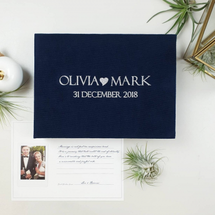 """Personalized Wedding box with guest advice cards, Wedding mad libs in box """"MARK"""""""