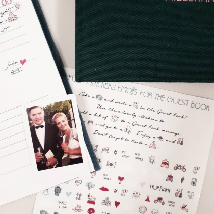 Vestuviniai lipdukai palinkėjimų knygai