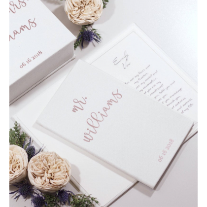 "Personalized Wedding His & Her Vow Books ""MR & MRS"". Set of 2 Vows Books."