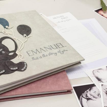 "Modern First Baby Memory Book. ""EMANUEL"""