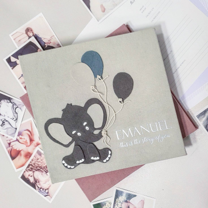 "Modern First Baby Memory Book ""EMANUEL"""