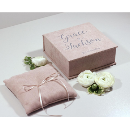 """Wedding rings box """"JADA"""" with paper vows cards and wedding rings pillow"""